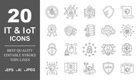 Proteção de dados, a TI, IoT, grupo dos ícones da segurança do Internet Curso edit?vel Eps 10 ilustração stock