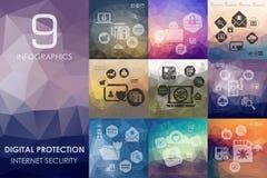 Proteção de Digitas infographic com fundo unfocused ilustração stock