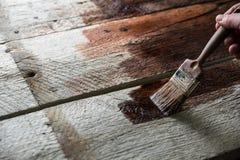 Proteção de madeira com conservante Imagens de Stock Royalty Free