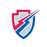 Proteção do poder - vector a ilustração do conceito do molde do logotipo Sinal da eletricidade do relâmpago Símbolo abstrato da e Imagem de Stock Royalty Free