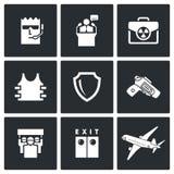 Proteção do presidente e dos ícones nucleares da mala de viagem Ilustração do vetor Fotografia de Stock Royalty Free
