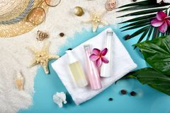 A proteção facial do skincare do verão, proteção de Sun com os cosméticos vazios da etiqueta engarrafa o recipiente Foto de Stock Royalty Free
