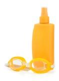 Proteção solar e óculos de proteção Fotografia de Stock