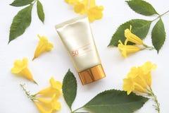 Proteção solar natural spf50 dos cosméticos para a cara da pele imagens de stock royalty free