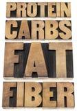 Proteína, carburadores, grasa, fibra Foto de archivo libre de regalías