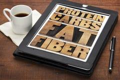 Proteína, carburadores, grasa y fibra Foto de archivo libre de regalías