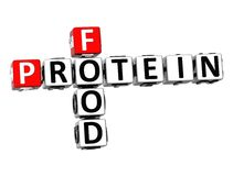 proteína do alimento das palavras cruzadas 3D no fundo branco Imagens de Stock Royalty Free