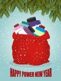 Proteína en el saco rojo de Santa Claus Año Nuevo del poder feliz Vagos grandes Imagenes de archivo