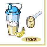 Proteína Shaker Banana de la cucharada Foto de archivo libre de regalías