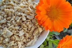 Proteína vegetal texturizada con la flor anaranjada Imágenes de archivo libres de regalías