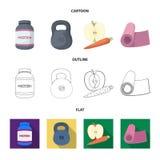Proteína, vitaminas e o outro equipamento para treinar Gym e ícones ajustados da coleção do exercício nos desenhos animados, esbo Fotos de Stock