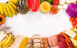 Proteínas, hidratos de carbono e frutos Imagens de Stock Royalty Free
