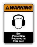 Prote??o de orelha de advert?ncia exigida neste sinal do s?mbolo da ?rea no fundo branco, ilustra??o do vetor ilustração do vetor