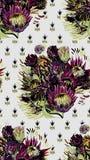 Protea senza cuciture del giardino del modello di vettore di progettazione del fiore di arte della pittura della carta da parati  illustrazione di stock