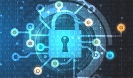 Protección cibernética de la seguridad y de la información o de la red Futuro técnico Fotos de archivo