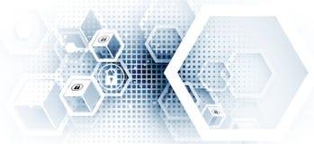 Protección cibernética de la seguridad y de la información o de la red Futuro técnico stock de ilustración