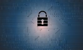Protección cibernética de la seguridad y de la información o de la red Futuro técnico Foto de archivo
