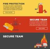 Protección contra los incendios y plantilla plana del diseño del equipo del bombero de las banderas seguras del web libre illustration