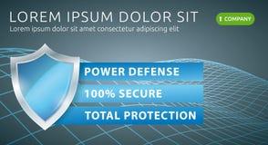 Protección de datos de la seguridad Bandera de la defensa de la tecnología del web Ejemplo del vector del antivirus Imagenes de archivo