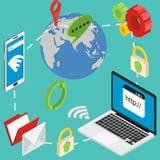 Protección de datos en línea isométrica de la seguridad del web segura Fotografía de archivo