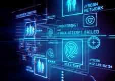Protección de la identificación de la seguridad de Digitaces ilustración del vector