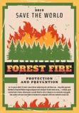 Protección de la naturaleza, el luchar del incendio forestal ilustración del vector