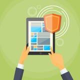Protección de la privacidad de datos de la pantalla de la cerradura del escudo de la tableta stock de ilustración