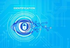 Protección de la tecnología del acceso de la exploración de la retina del sistema de identificación y concepto de la seguridad ilustración del vector