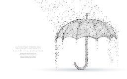 Protección de lluvia del paraguas del vector Cubierta baja abstracta del paraguas del poy en lluvia Fotos de archivo libres de regalías