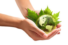 Protección del ambiente en sus manos - los E.E.U.U. imagen de archivo
