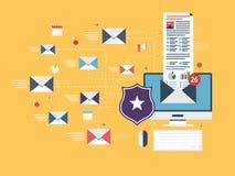 Protección del correo electrónico y comunicación segura sobre Internet Bloqueador de correo no deseado Foto de archivo libre de regalías