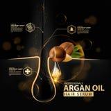 Protección del cuidado del cabello del aceite del Argan contenida en botella Imágenes de archivo libres de regalías