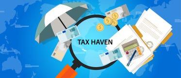 Protección del dinero del ejemplo del negocio de las finanzas del país del asilo de impuesto stock de ilustración