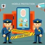 Protección del teléfono móvil Seguridad financiera y ilustración del vector