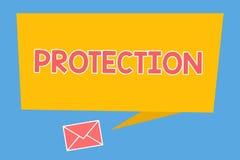 Protección del texto de la escritura El estado del significado del concepto de la protección guardado contra peligro de la pérdid ilustración del vector