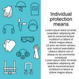 Protección individual Equipo protector para los ojos, la cabeza, los oídos, las manos, los pulmones y el cuerpo Protección y salu ilustración del vector