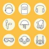 Protección individual Sistema de iconos del equipo protector personal en la construcción ilustración del vector