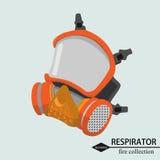 Protección respiratoria para el fuego de la zona isométrico ilustración del vector