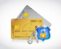 Protección segura de la cerradura del escudo de las tarjetas del crédito Fotografía de archivo libre de regalías