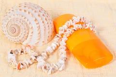Protección solar de la botella del espray, toalla, cáscaras Foto de archivo libre de regalías