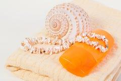 Protección solar de la botella del espray, toalla, cáscaras Imagen de archivo