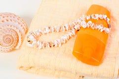 Protección solar de la botella del espray, toalla, cáscaras Imagen de archivo libre de regalías