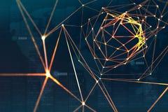 Protección y almacenamiento de datos digitales usando la tecnología del blockchain Inteligencia artificial basada en redes neuron fotografía de archivo libre de regalías