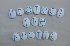 Protect the Arctic, international slogan for helping Arctic animals adapt to a rapidly changing climate. Unique slogan to protect the arctic against damage stock photos