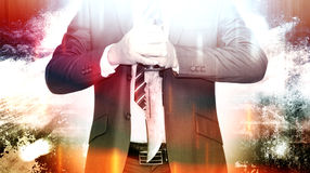 Protect Business. Business competition,Businessman bring out knife ready to fight or protect business Stock Image