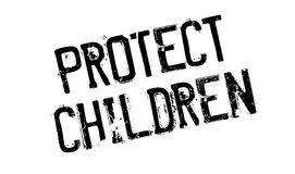 Protect Children rubber stamp. Grunge design with dust scratches. Effects can be easily removed for a clean, crisp look. Color is easily changed stock illustration