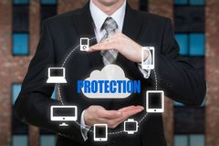 Protect cloud information data concept. Security and safety of cloud data Stock Photo