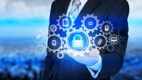 Protect cloud information data concept. Security and safety of cloud data Royalty Free Stock Photography