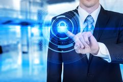Protect cloud information data concept. Security and safety of cloud data Stock Image