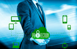 Protect cloud information data concept. Security and safety of cloud data Royalty Free Stock Photo